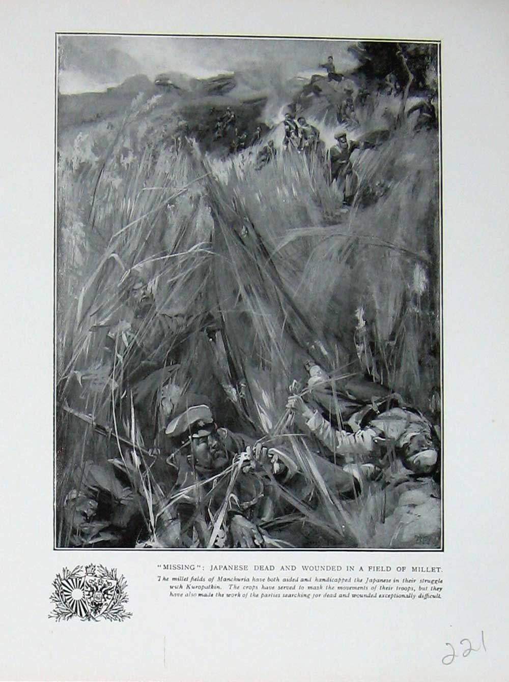 [Print War Japanese Wounded Dead Soldiers Millet Manchuria 221E171 Old Original]
