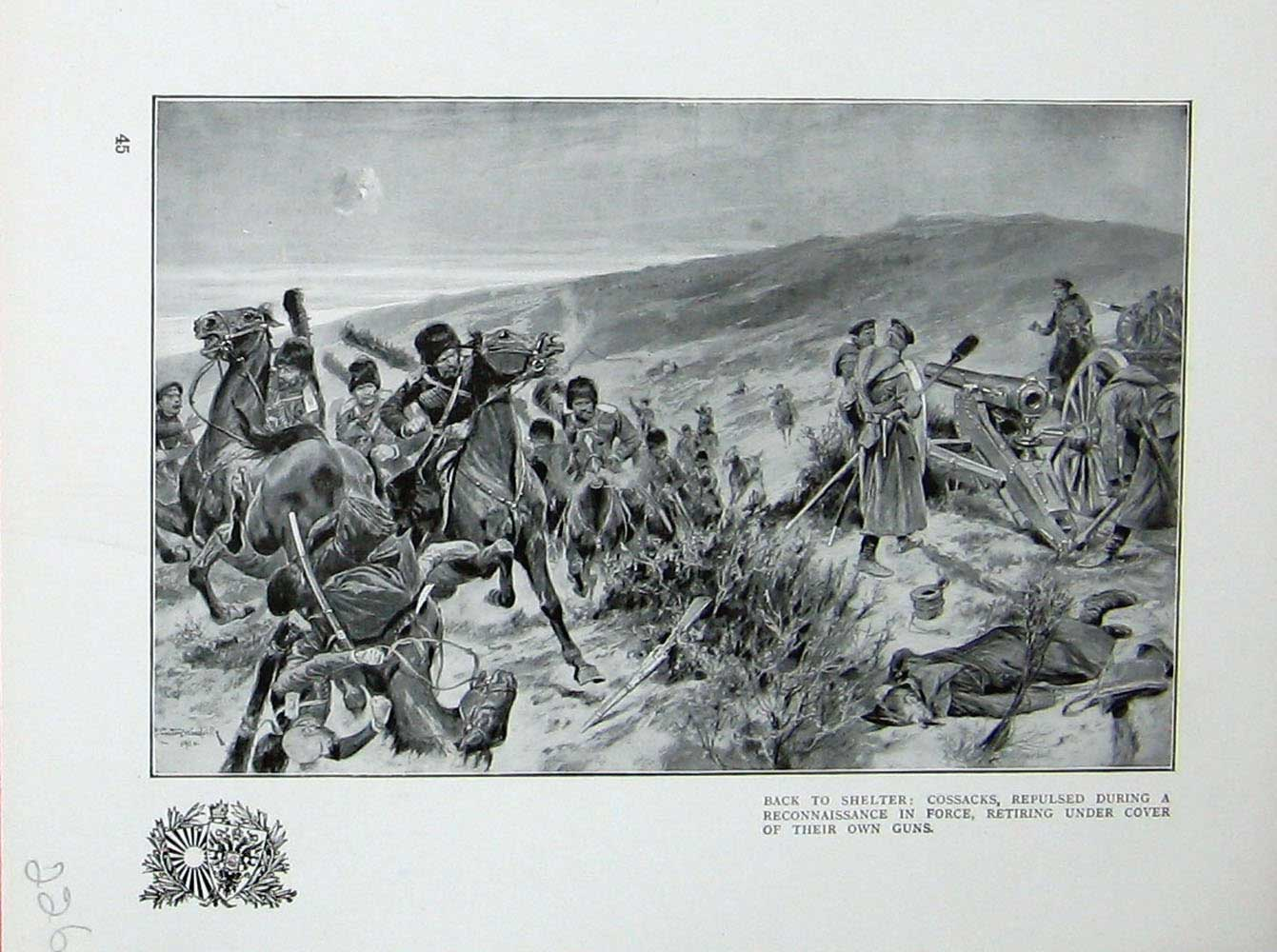 [Print War Cossacks Reconnaissance Battle Japanese Russians 226E171 Old Original]