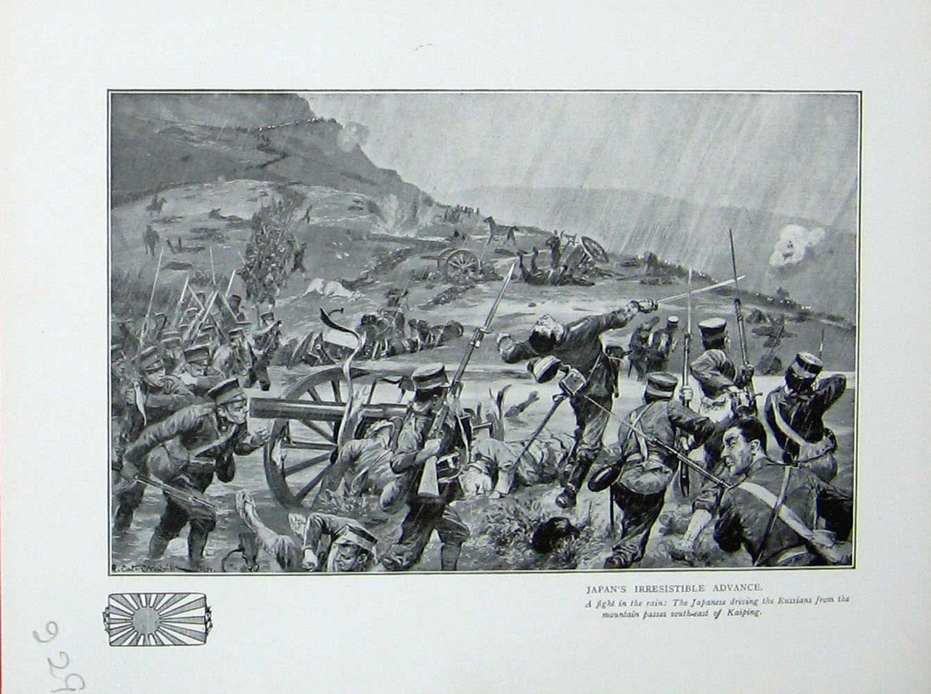 [Print War Japanese Soldiers Russians Mountains Kaiping Battle 229E171 Old Original]
