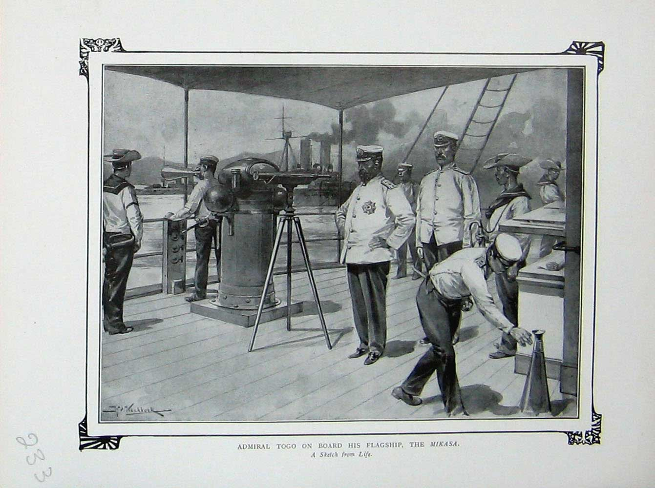 [Print War Admiral Togo Board Flag Ship Mikasa Japanese Army 233E171 Old Original]