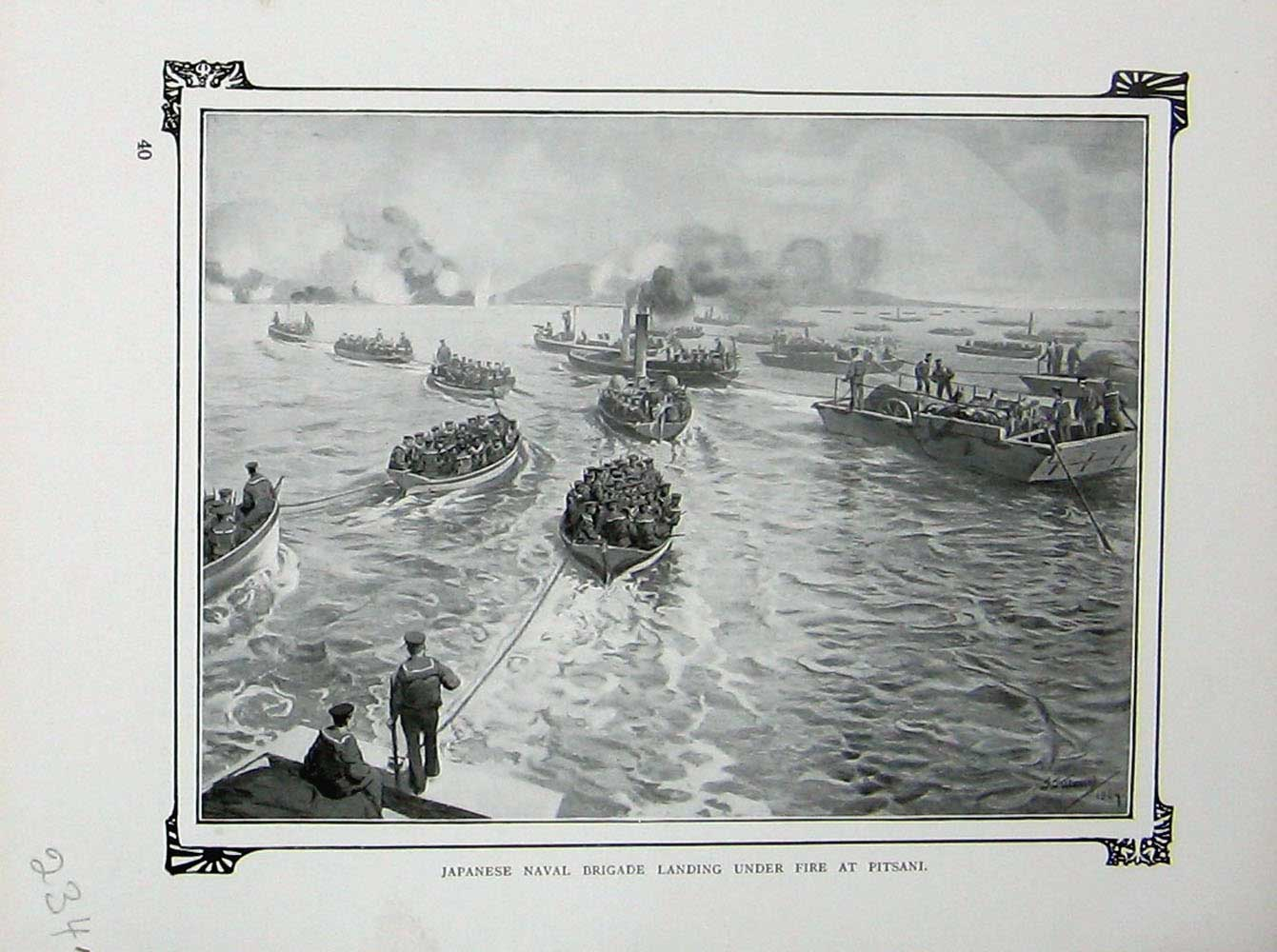 [Print War Japanese Naval Brigade Boats Pitsani Battle Cassell 234E171 Old Original]