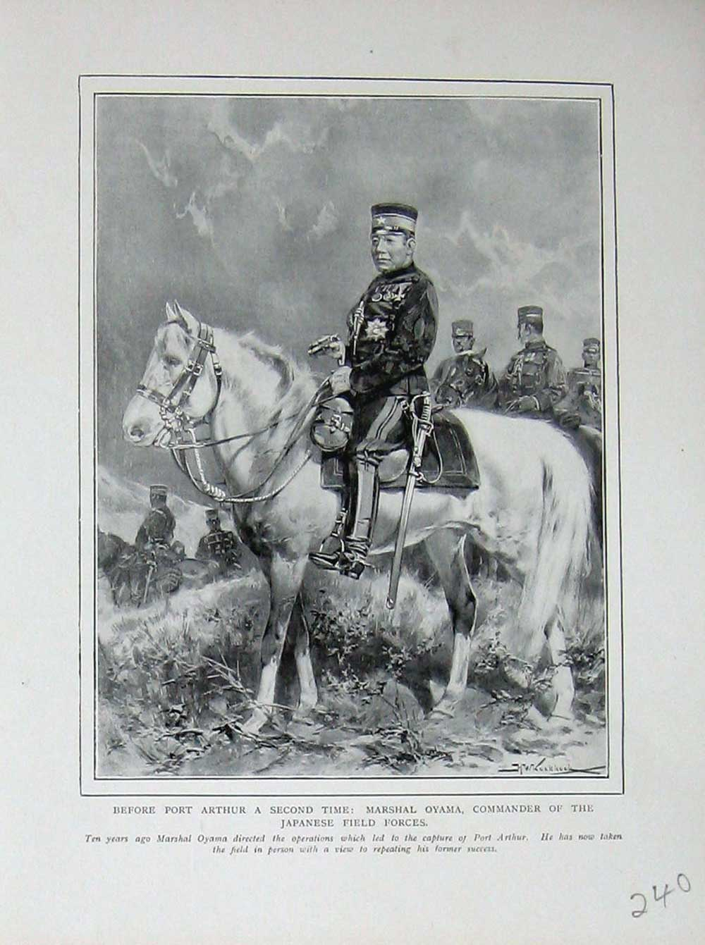 [Print War Port Arthur Marshall Oyama Commander Japanese 240E171 Old Original]