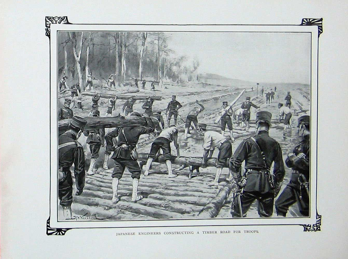 [Print Russo-Japanese War Japanese Engineers Timber Road 345E172 Old Original]