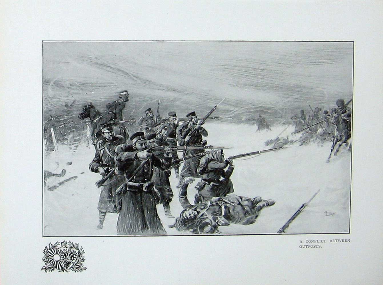 [Print Russo-Japanese War Soldiers Battle Outposts Conflict 356E172 Old Original]