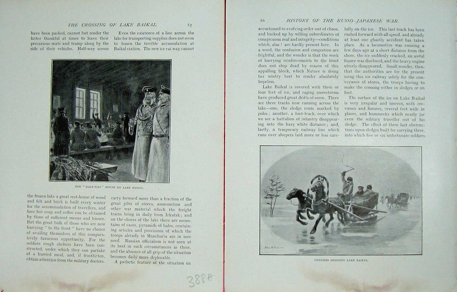 [Print Russo-Japanese War House Lake Baikal Officers Horses 388Ae172 Old Original]