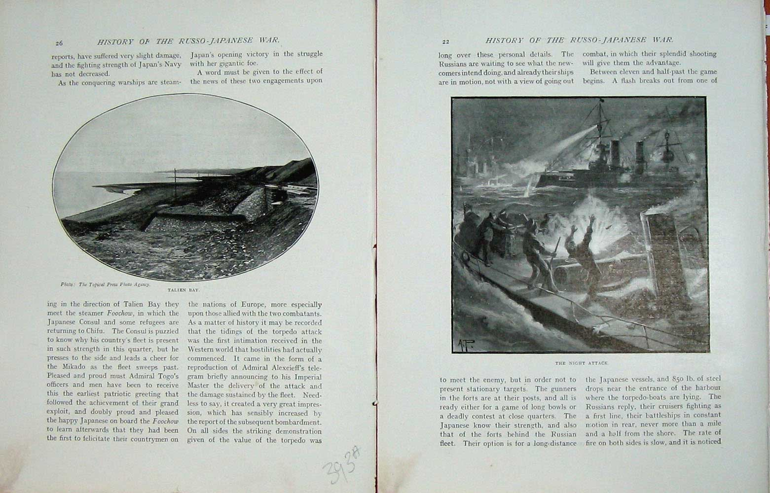 [Print Russo-Japanese War View Talien Bay Night Attack Ship 393Ae172 Old Original]