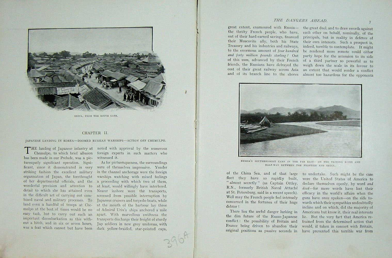 [Print Russo-Japanese War View Seoul Russia Camp Teitong River 396Ae172 Old Original]
