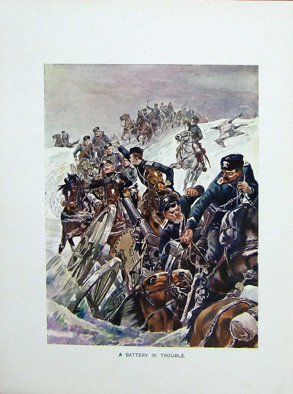 [Print Russo-Japanese War Battery Soldiers Horses Weapons 401E173 Old Original]