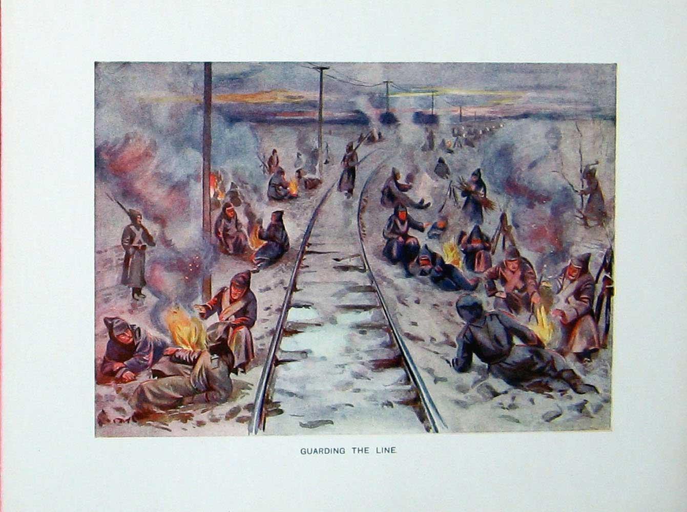 [Print Russo-Japanese War Soldiers Railway Fires Smoke Colour 403E173 Old Original]
