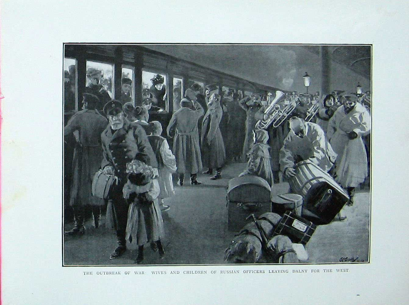 [Print Russo-Japanese War Wives Russian Officers Dalny Train 404E173 Old Original]