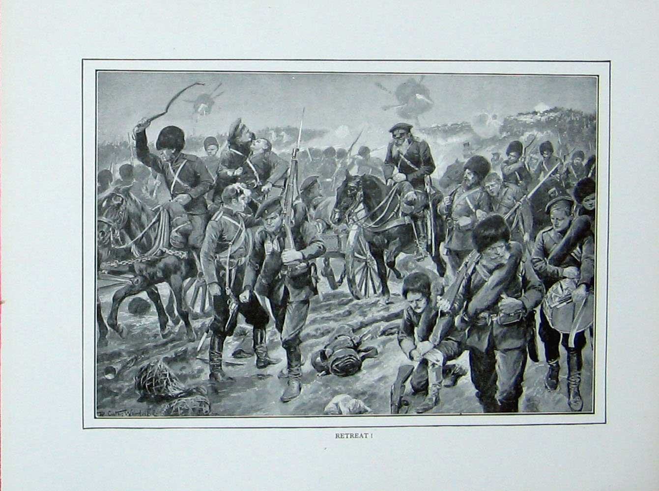[Print Russo-Japanese War Battle Field Soldiers Horses Weapons 410E173 Old Original]
