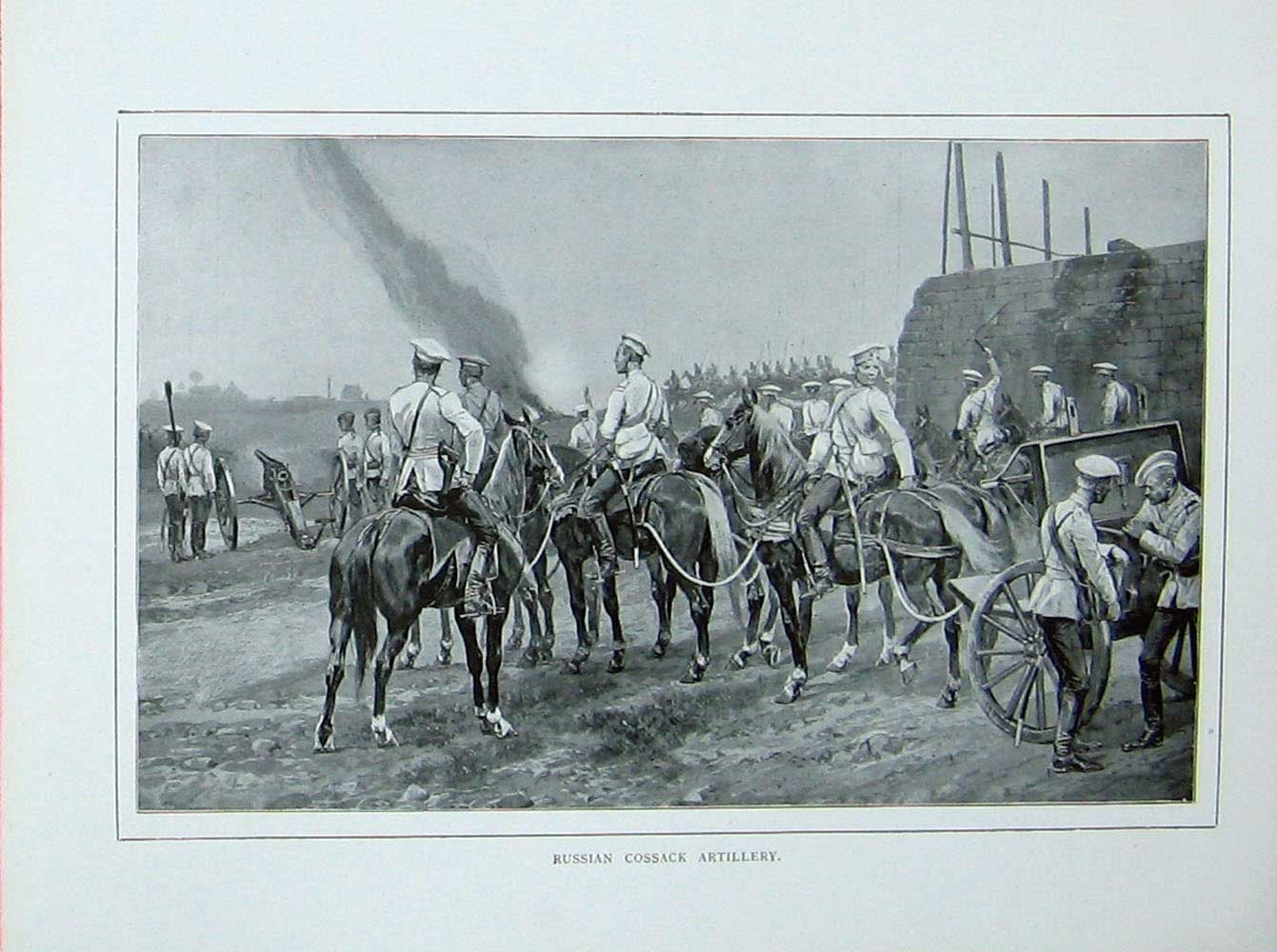 [Print Russo-Japanese War Russian Cossack Artillery Soldiers 413E173 Old Original]