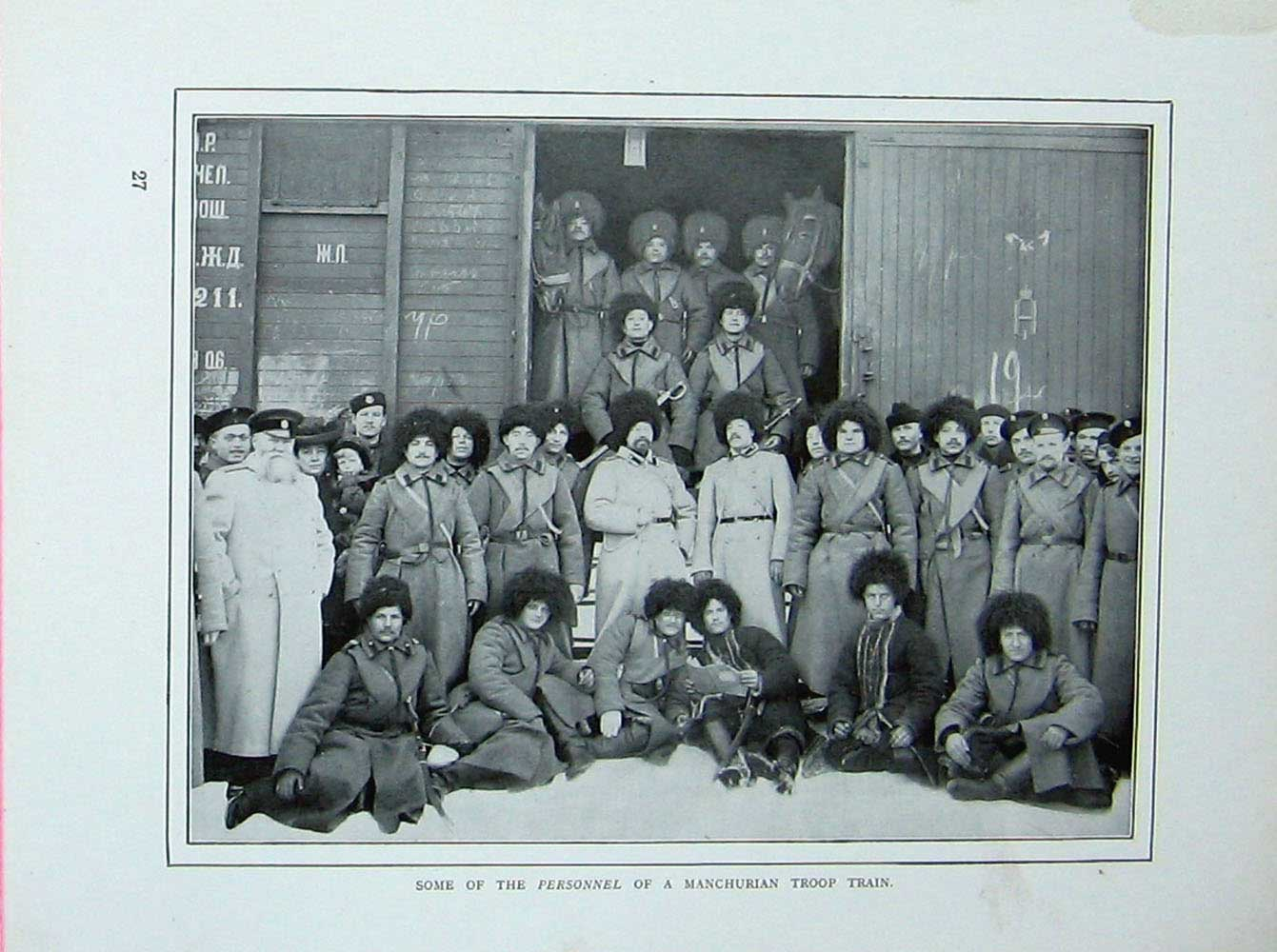 [Print Russo-Japanese War Manchurian Troop Train Soldiers 418E173 Old Original]