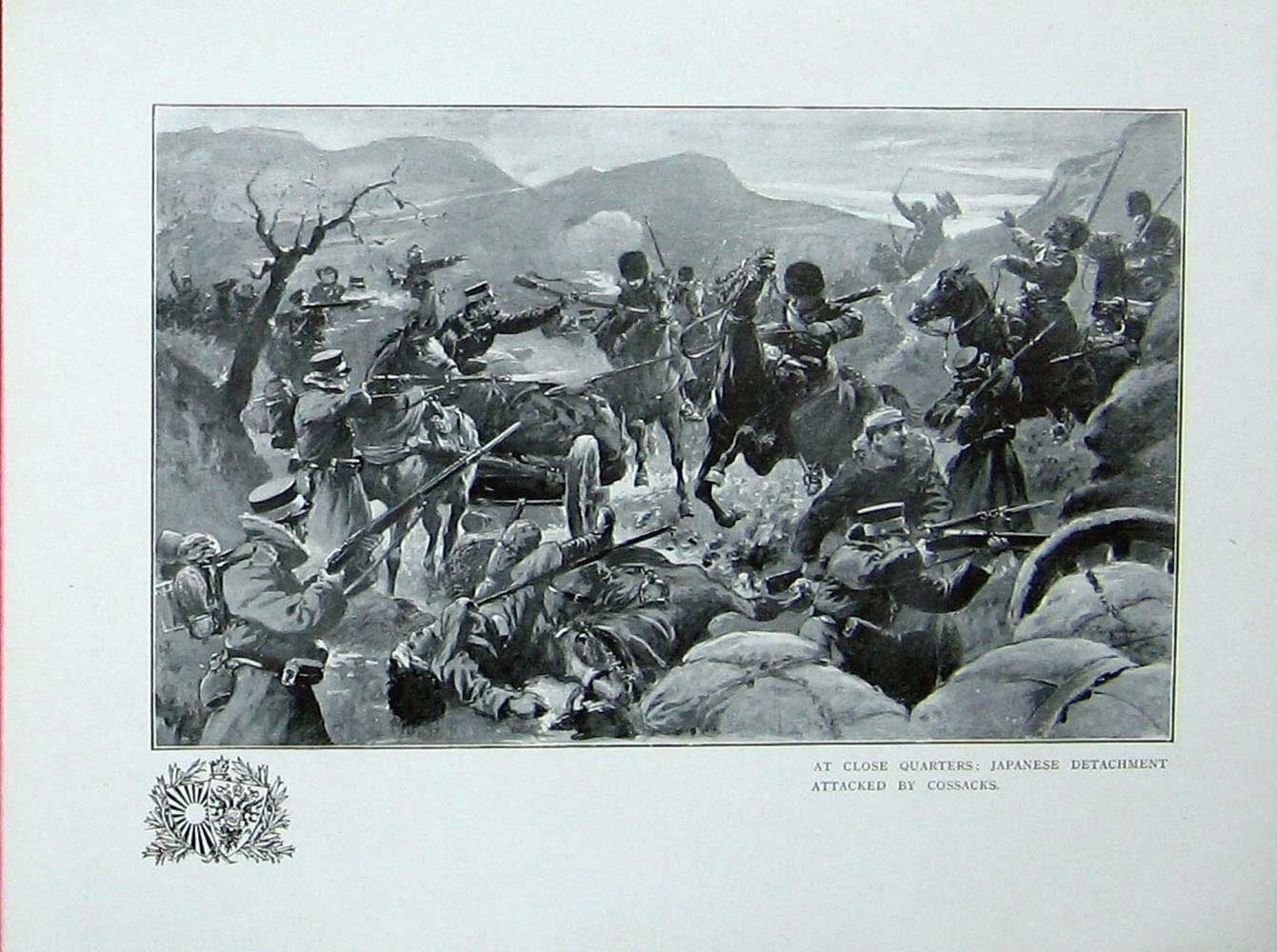 [Print Russo-Japanese War Japanese Soldiers Attacked Cossacks 423E173 Old Original]