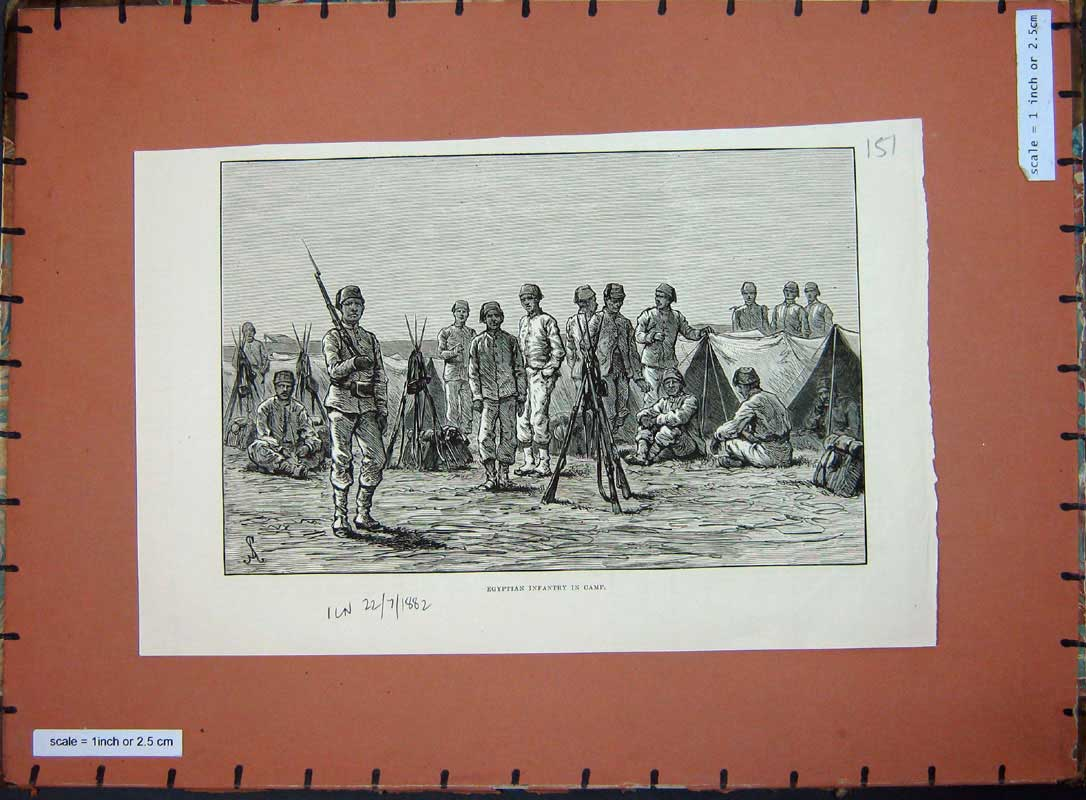 [Print 1882 Egyptian Infantry Camp War Soldiers Weapons Art 151E175 Old Original]