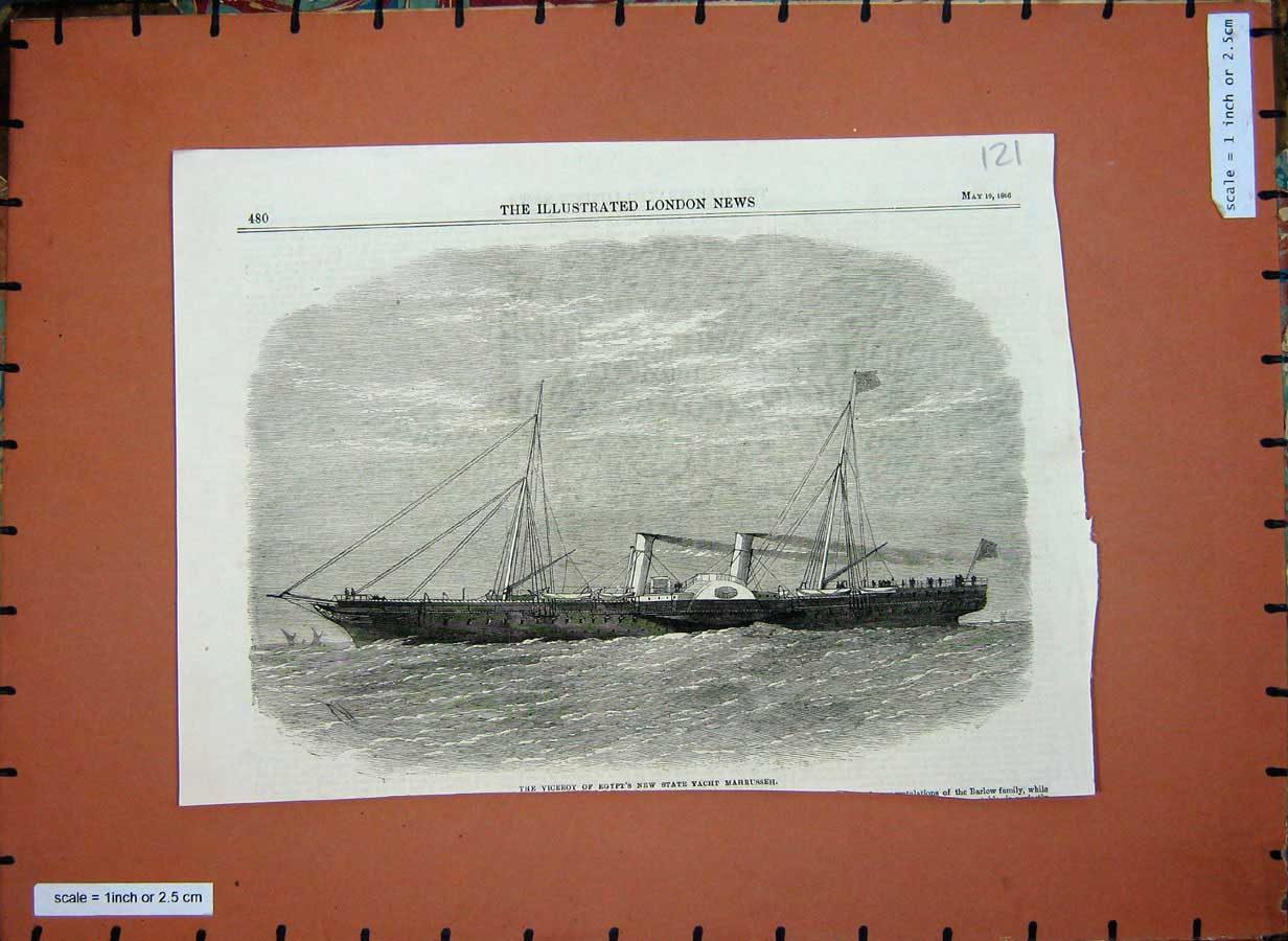 [Print 1866 Viceroy Egypt State Yacht Mahrusseh Ship War 121E177 Old Original]