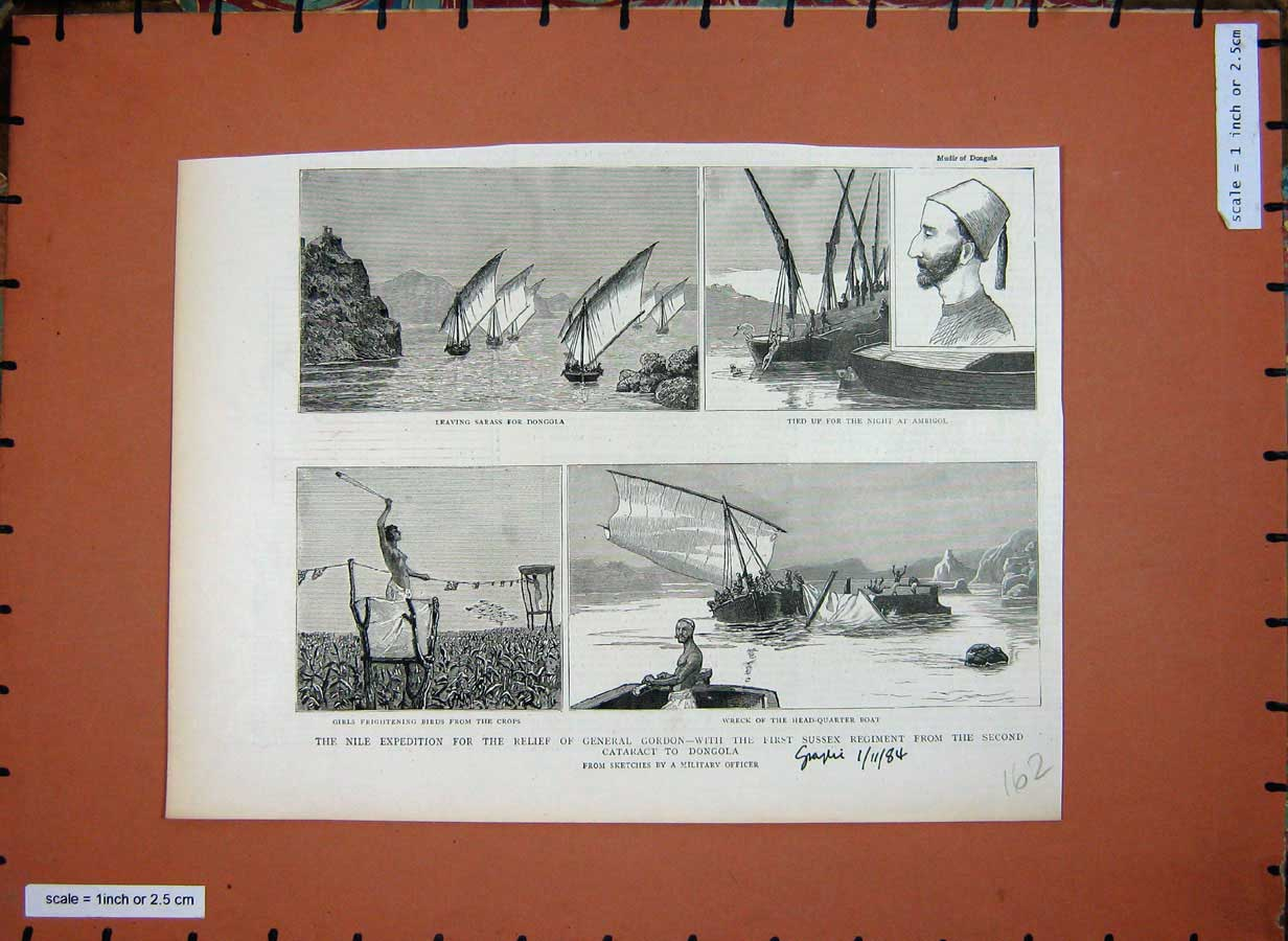 [Print 1884 Nile Expedition Egypt General Gordon Dongola War 162E178 Old Original]