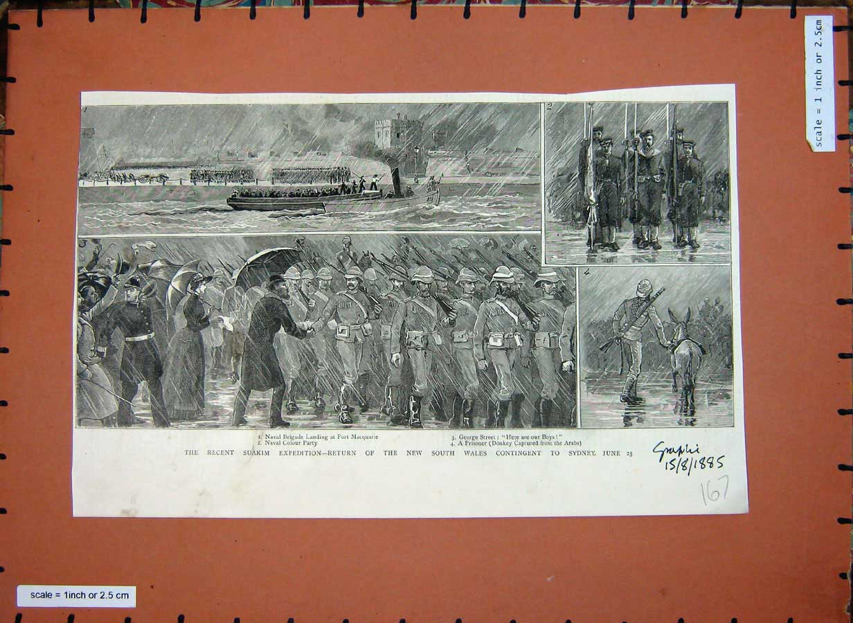 [Print 1885 Suakim Expedition War Soldiers Fort Macquarie Boat 167E178 Old Original]
