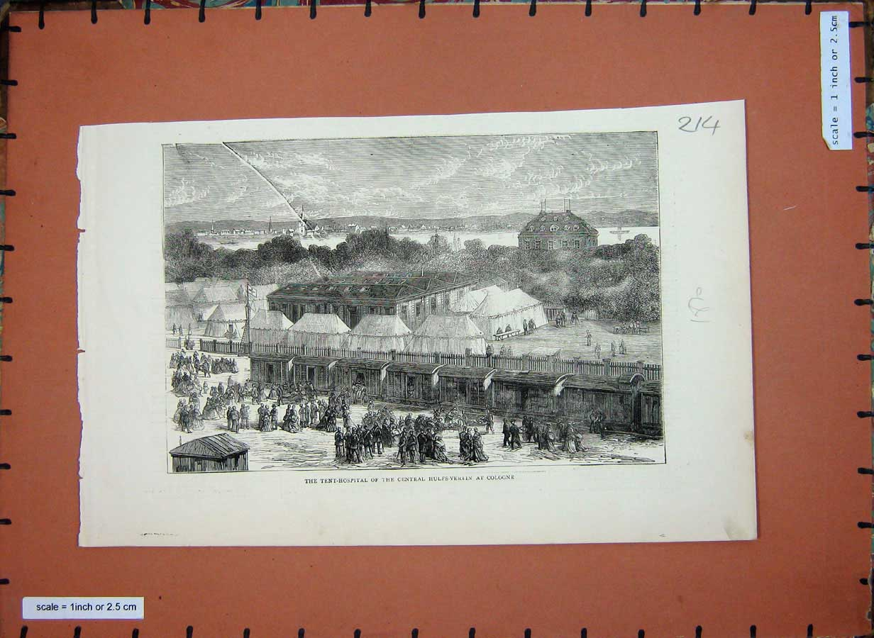 [Print 1870 Tent Hospital Central Hulfs-Verein Cologne War 214E180 Old Original]