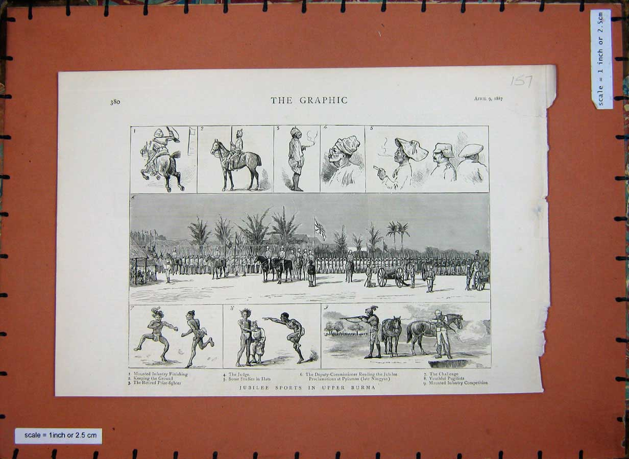 [Print 1887 Jubilee Sports Upper Burma Soldiers Shooting 157E183 Old Original]