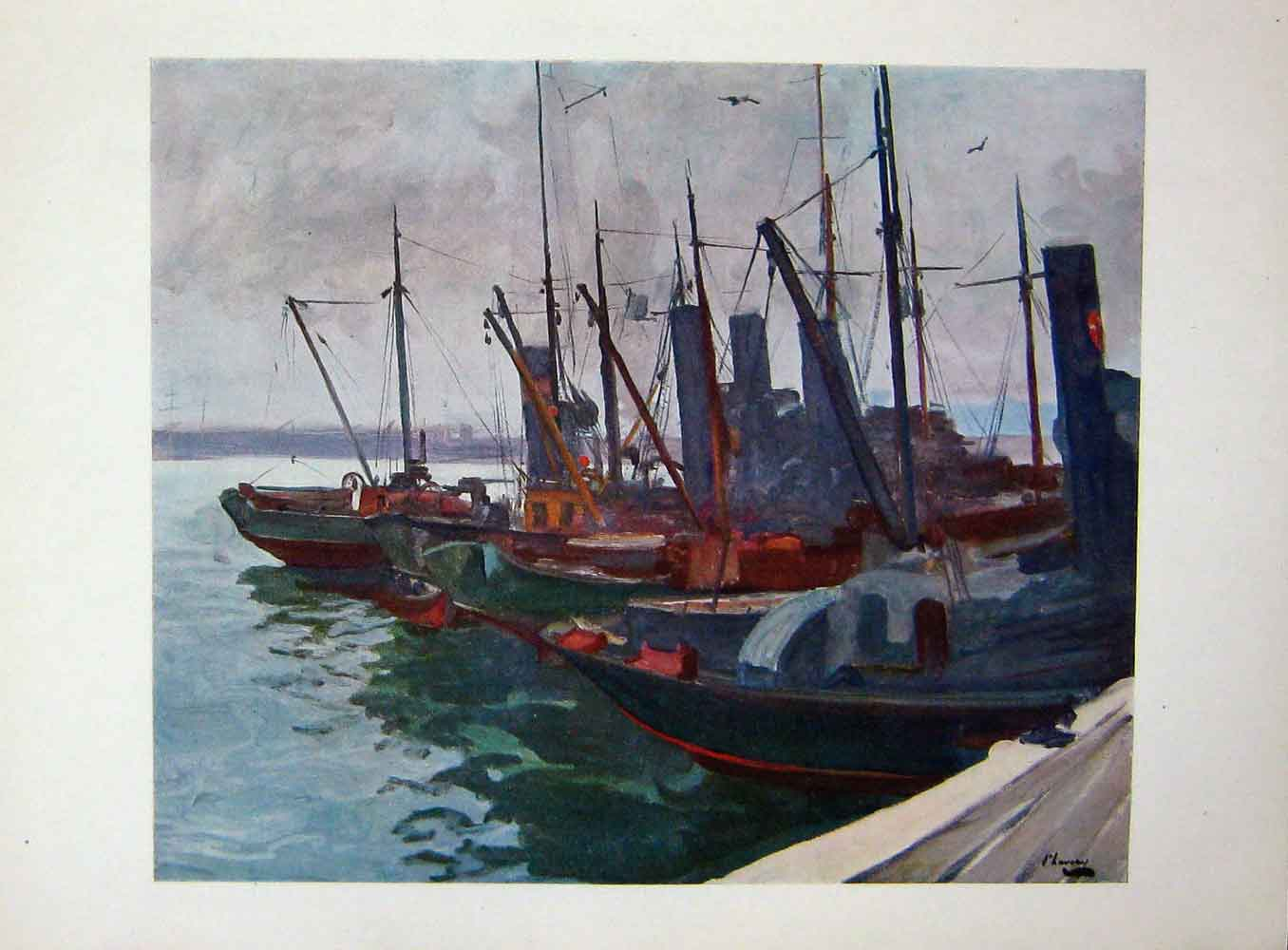 [Print C1918 Minesweepers Harbour Boats Fishing War Lavery 311E190 Old Original]