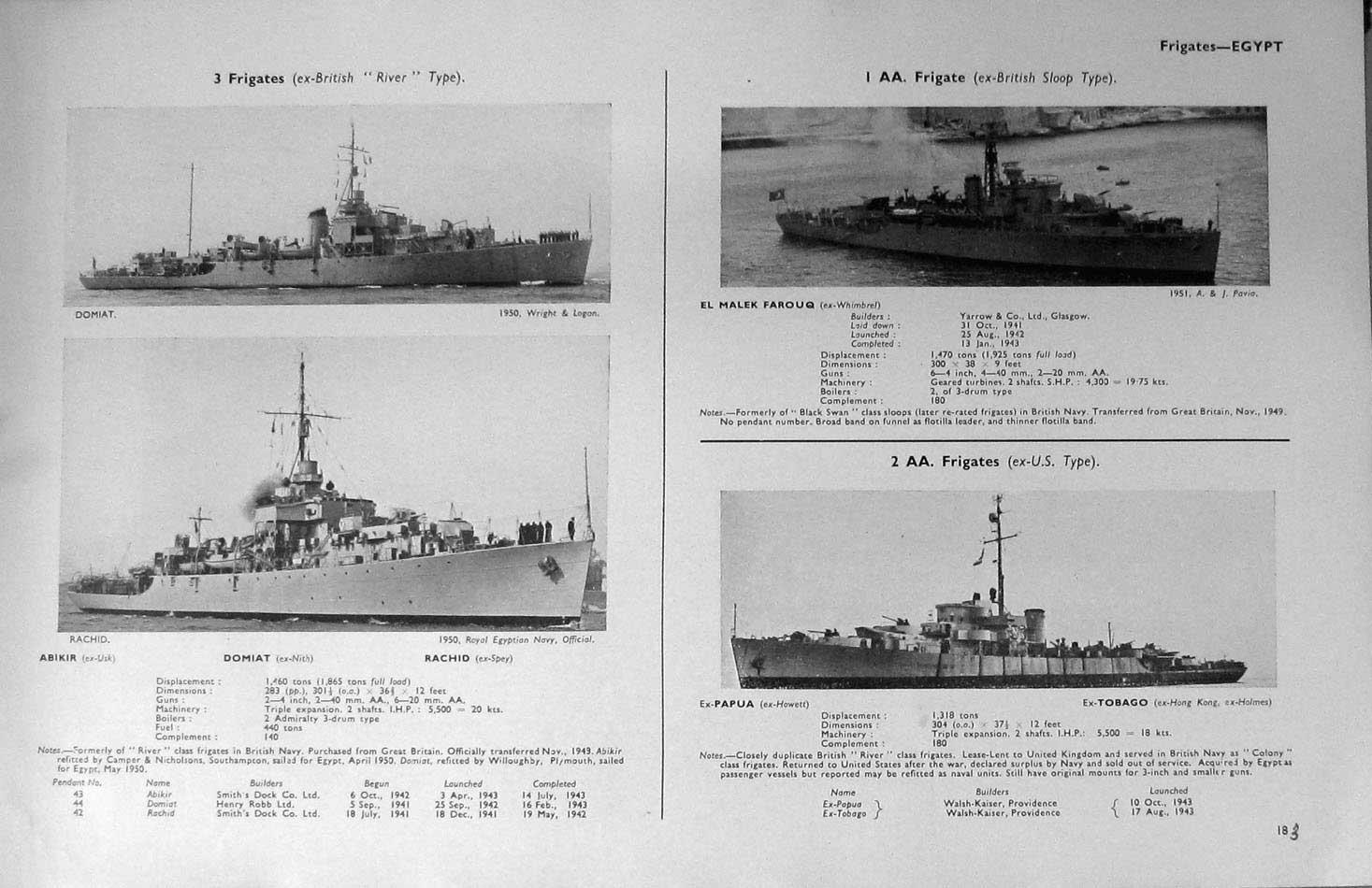 [Print 1936-54 Battle Ships Sudan Mohamed Ewal Farouq Domiat 238Re196 Old Original]