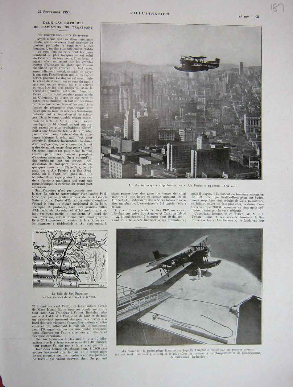 Print 1930 French Two Extremes Of Air Transport 187E201 Old Original