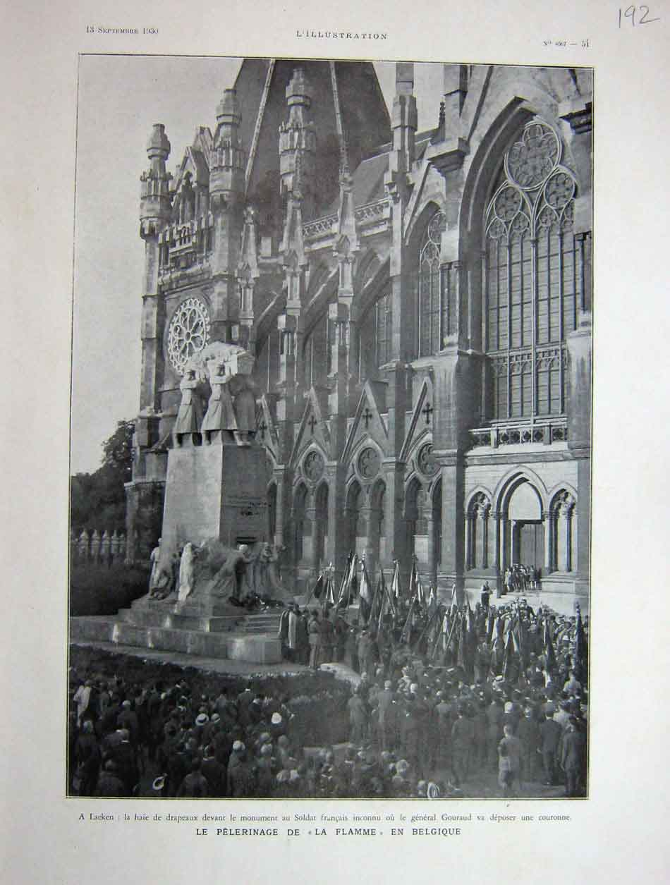 [Print 1930 French Pilgrimage Of War Dead In Belgium 192E201 Old Original]