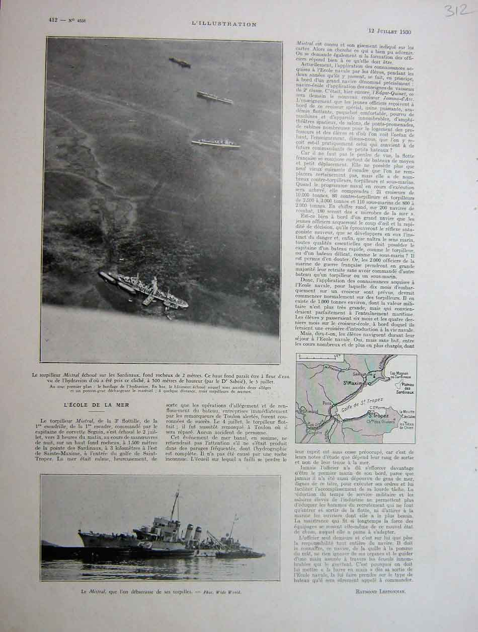 [Print The Naval War School French 1930 312E201 Old Original]