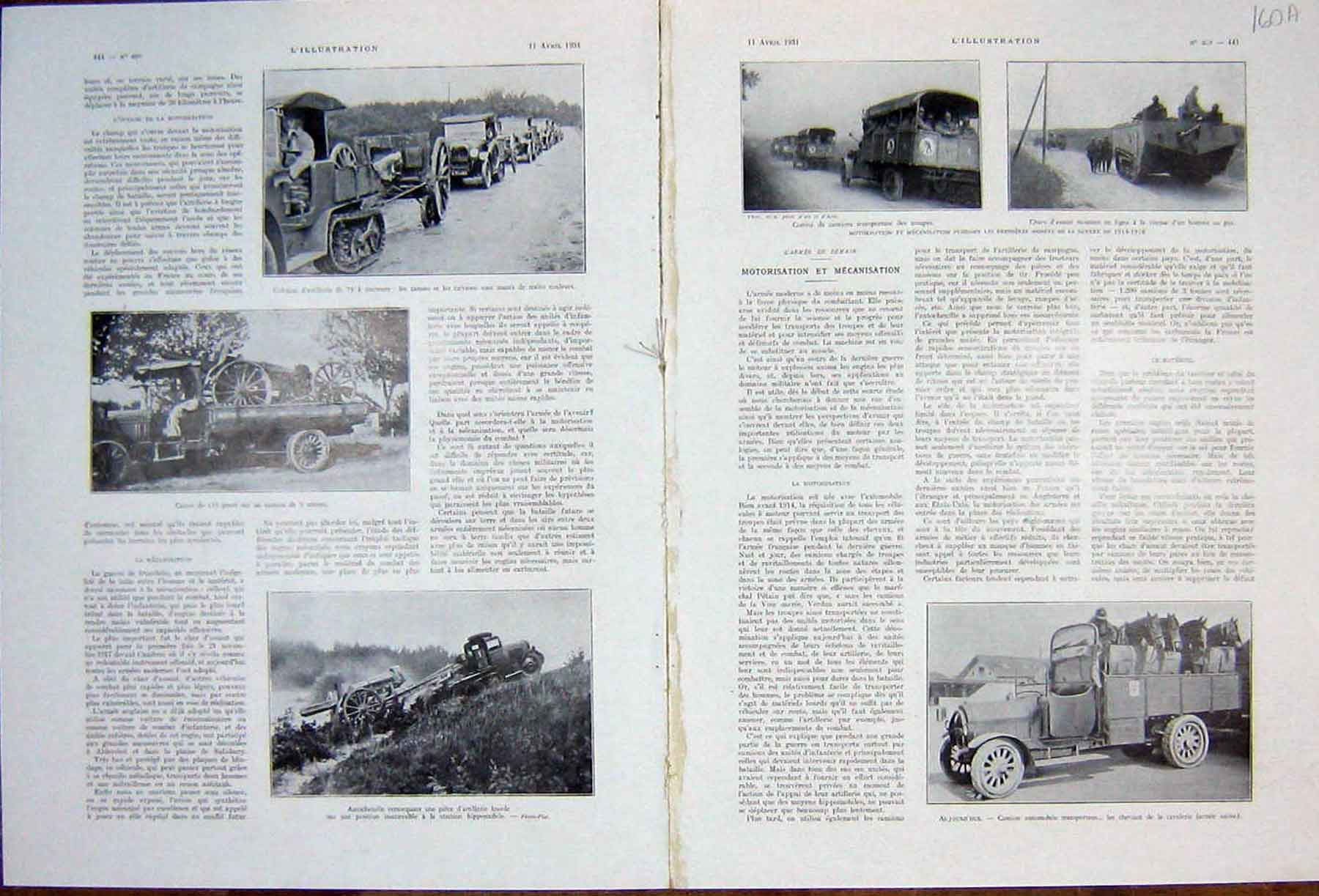 [Print Military Automobile Tank Motor-Cycle War French 1931 160Ae205 Old Original]
