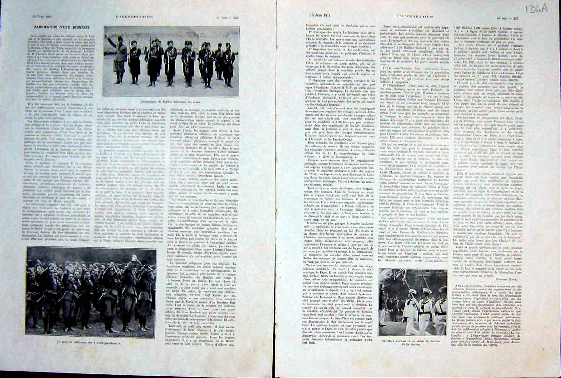 [Print Balillas Army Military War Soldiers French 1931 136Ae208 Old Original]