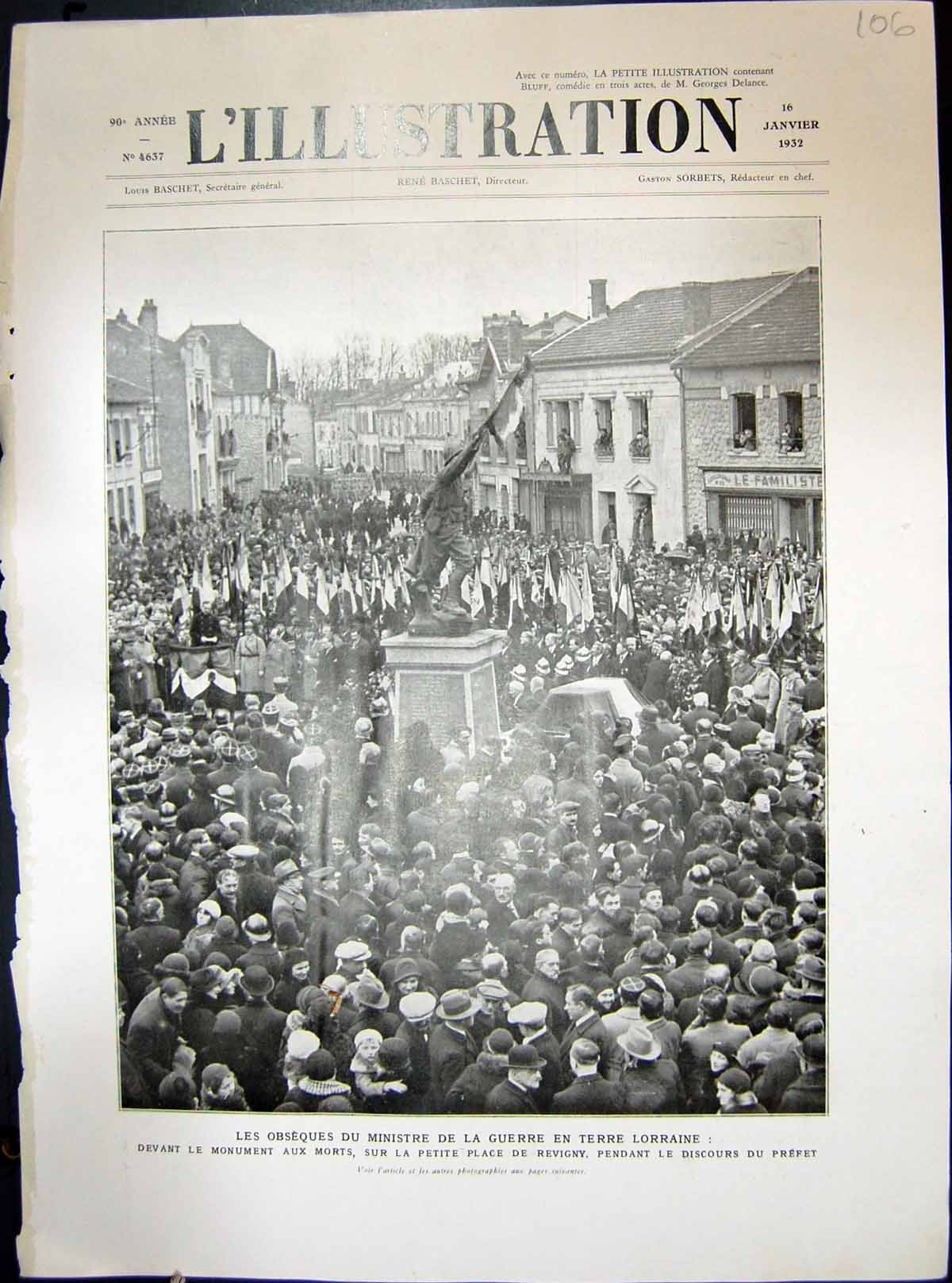 [Print Lorraine War Revigny Monument Military French 1932 106E209 Old Original]