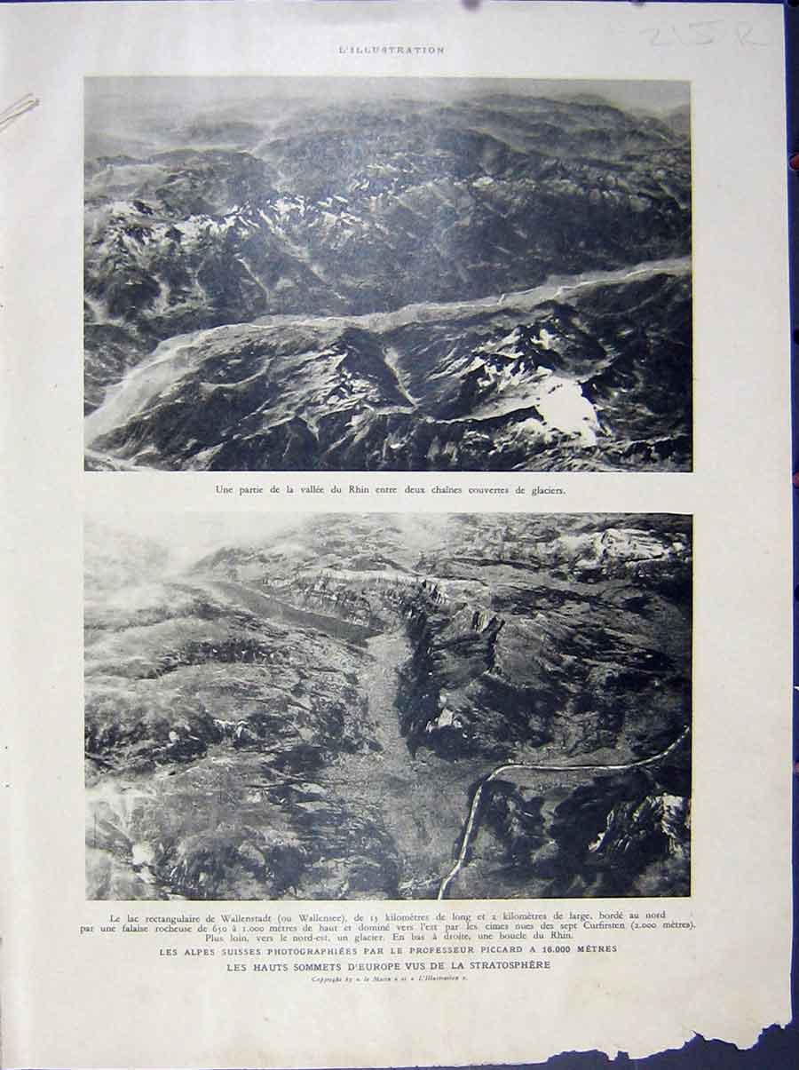 [Print Rhine Germany Alpes Arial Photo Africa War French 1932 815Re210 Old Original]