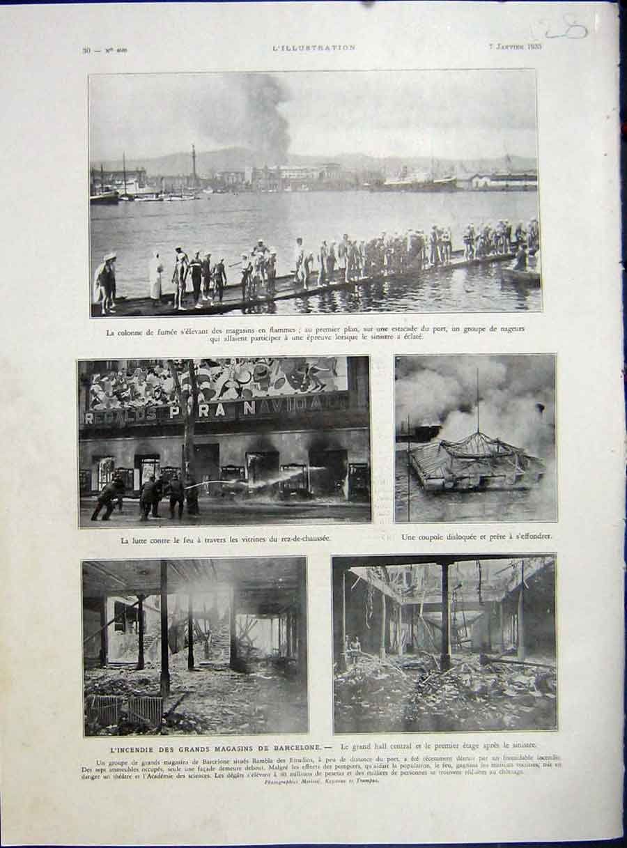 [Print Barcelona Spain Fire Shop Fire-Fighting French 1933 128E212 Old Original]