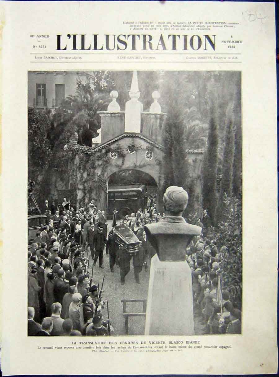 [Print Ibanez Fontana-Rosa Funeral Spain French 1933 184E212 Old Original]
