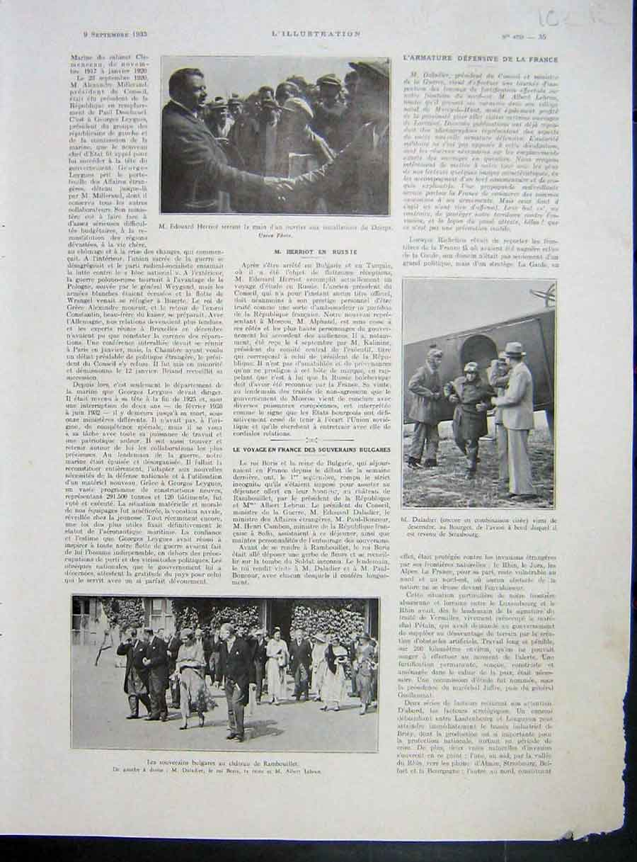 [Print Herriot Daladier Munitions Military Est French 1933 War 102Re213 Old Original]