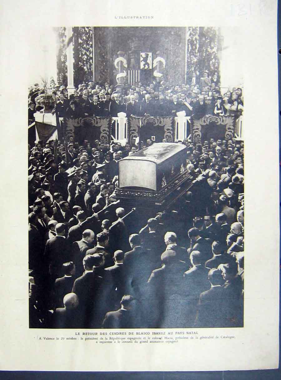 [Print Ibanez Funeral Valencia Aragon Spain French 1933 131Re213 Old Original]