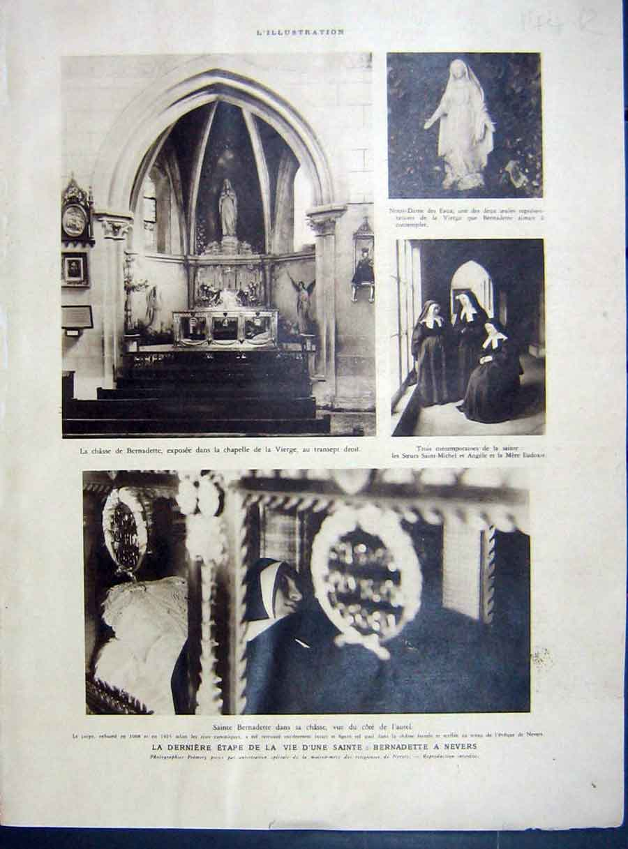 [Print Bernadette Nevers Church Spain Ruins Photo Arial 1933 144Re213 Old Original]