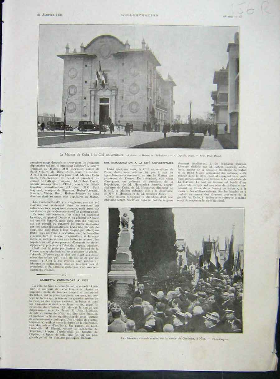 [Print Cuba University Cite Spain Cadix Unrest French 1933 156Re213 Old Original]