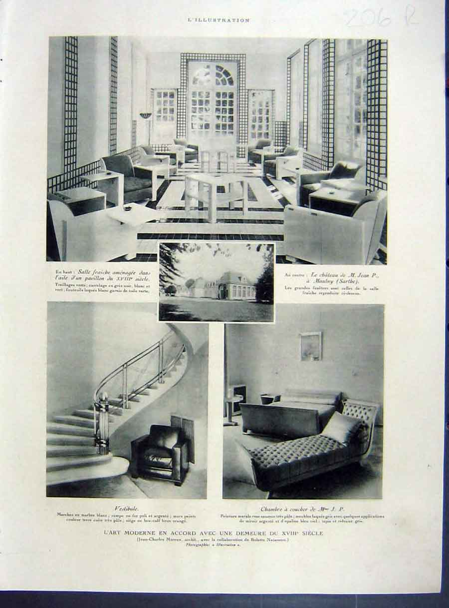 [Print Modern-Art Interior Decor Design French 1933 206Re213 Old Original]
