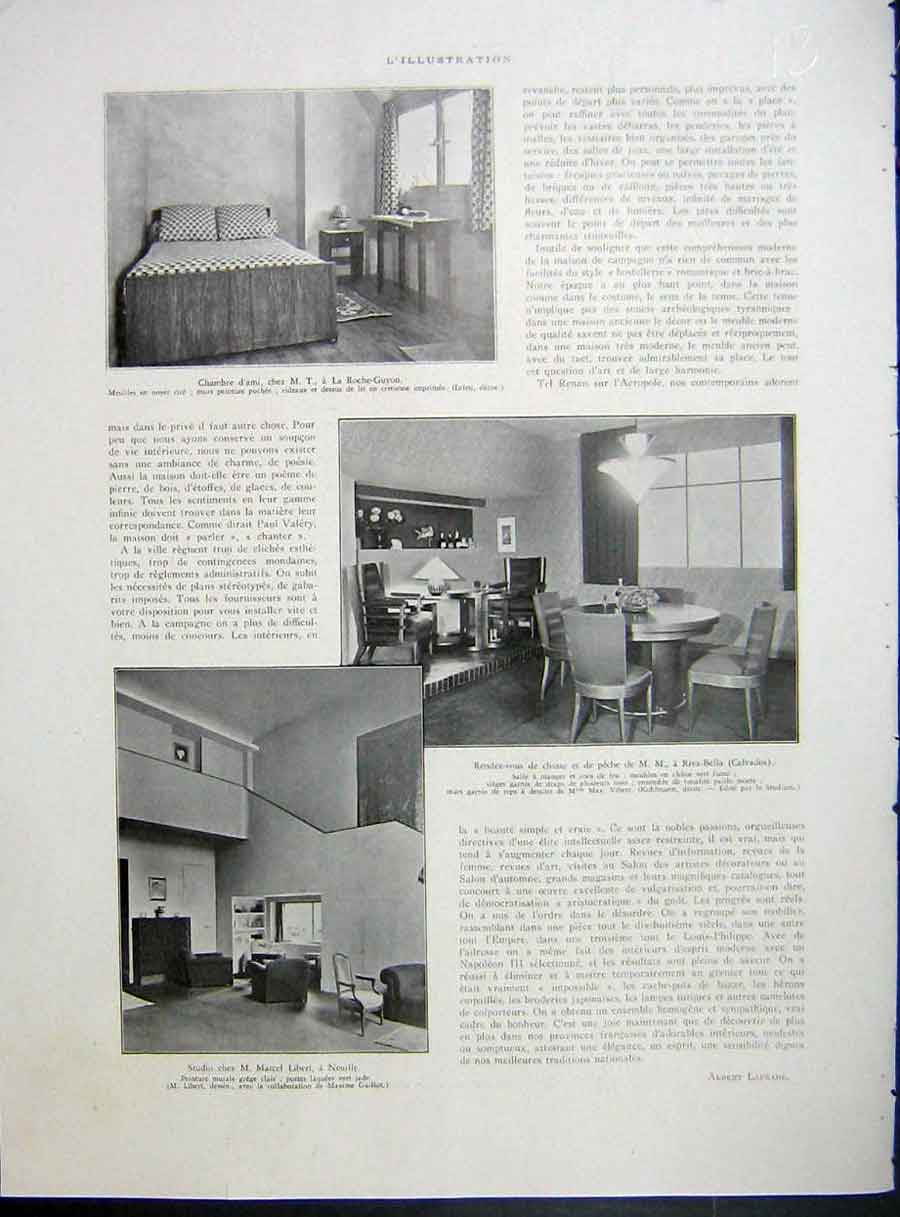 [Print Neuilly Interior Design Decor French 1933 181E214 Old Original]