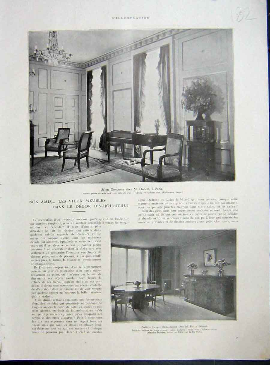 [Print Decor Interior Design French 1933 182E214 Old Original]