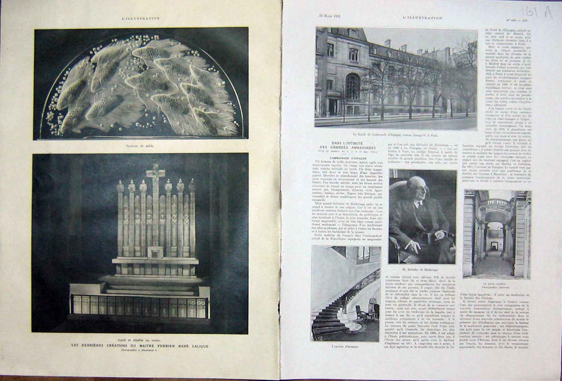 [Print Ambassador Spain France Sapnish Lalique French 1933 161Ae216 Old Original]
