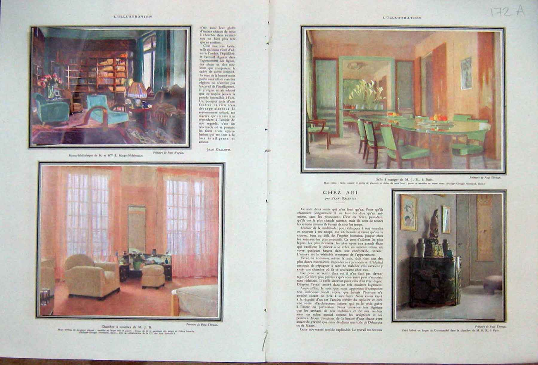 [Print Paris Interior Design Decor Decoration French 1933 172Ae216 Old Original]