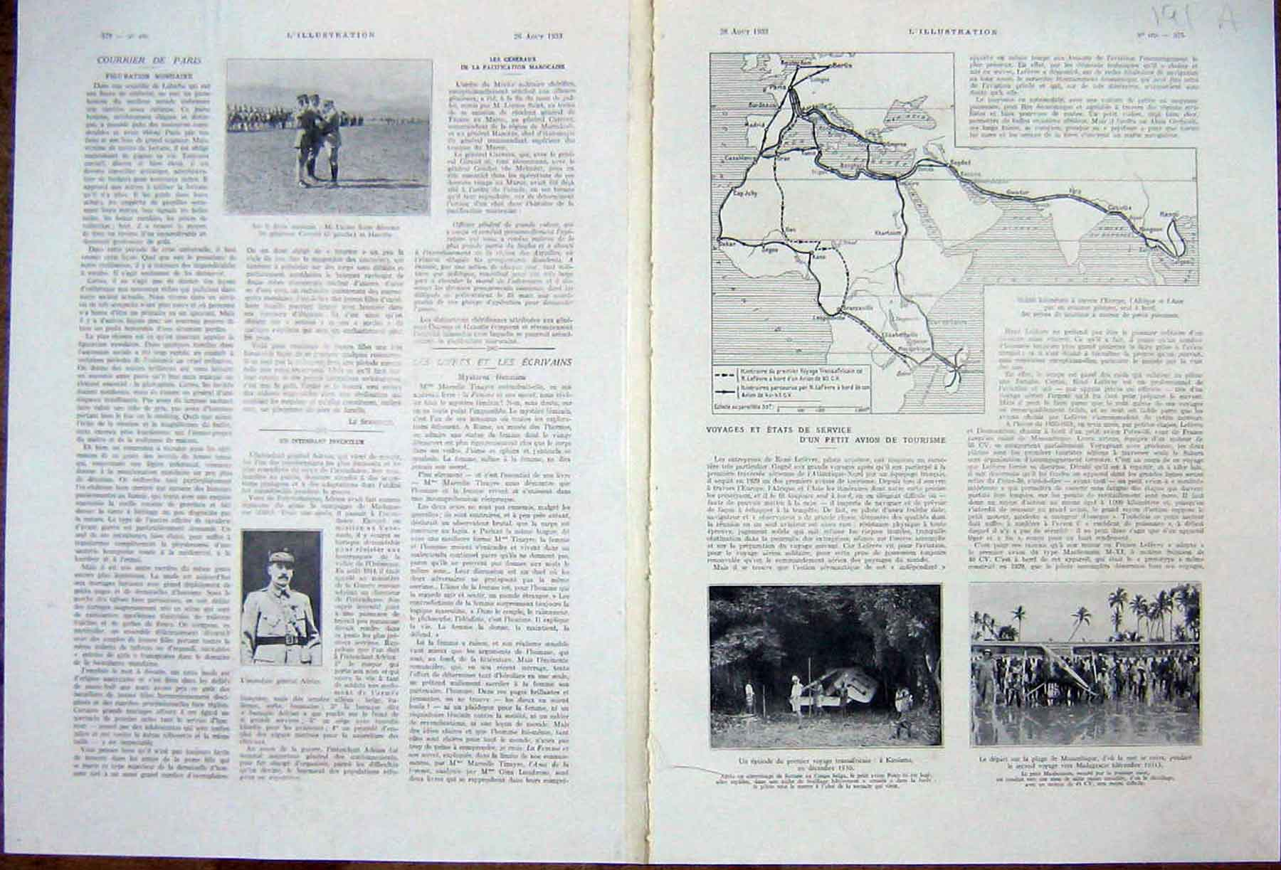 [Print Aviation Persian Gulf Africa Tourism French 1933 191Ae216 Old Original]