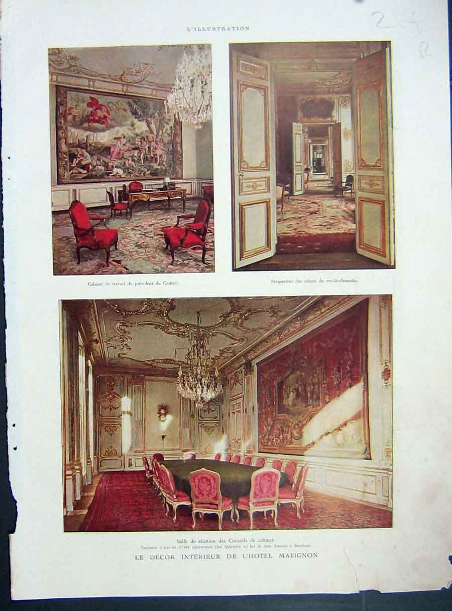[Print Interior Decoration Design Decor Matignon French 1935 214Re222 Old Original]