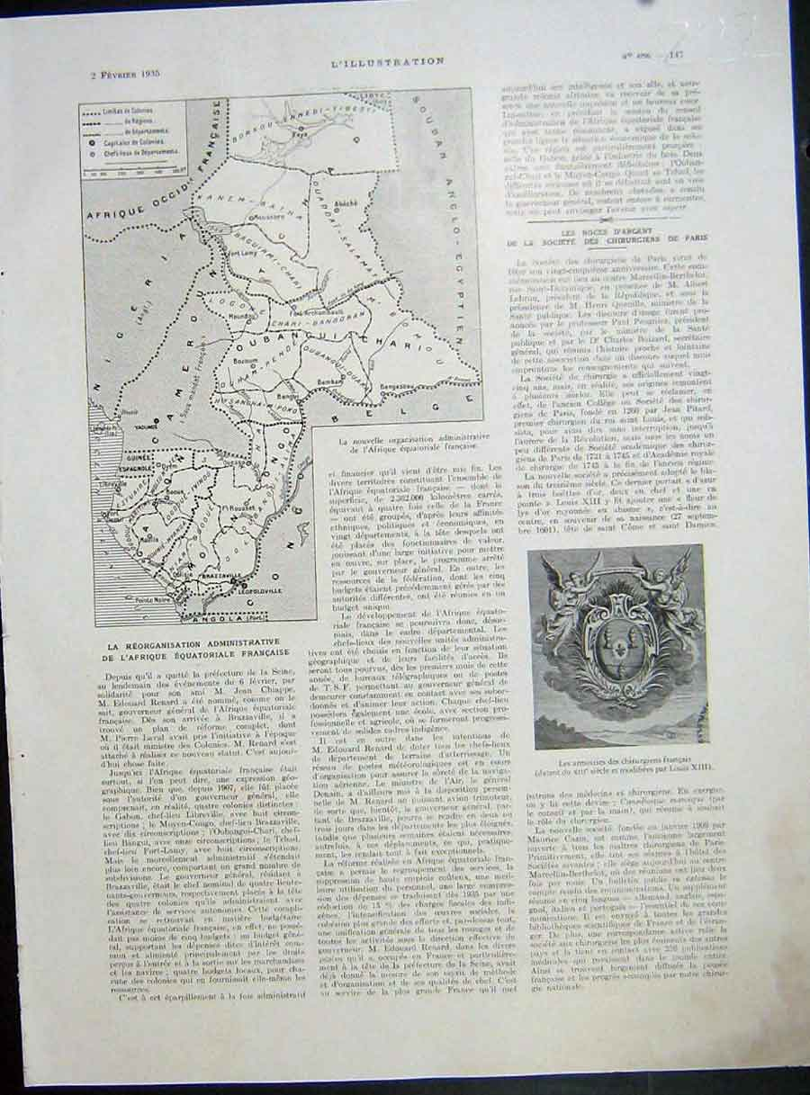 [Print Map Africa Equatorial French Chirurgiens French 1935 222E223 Old Original]