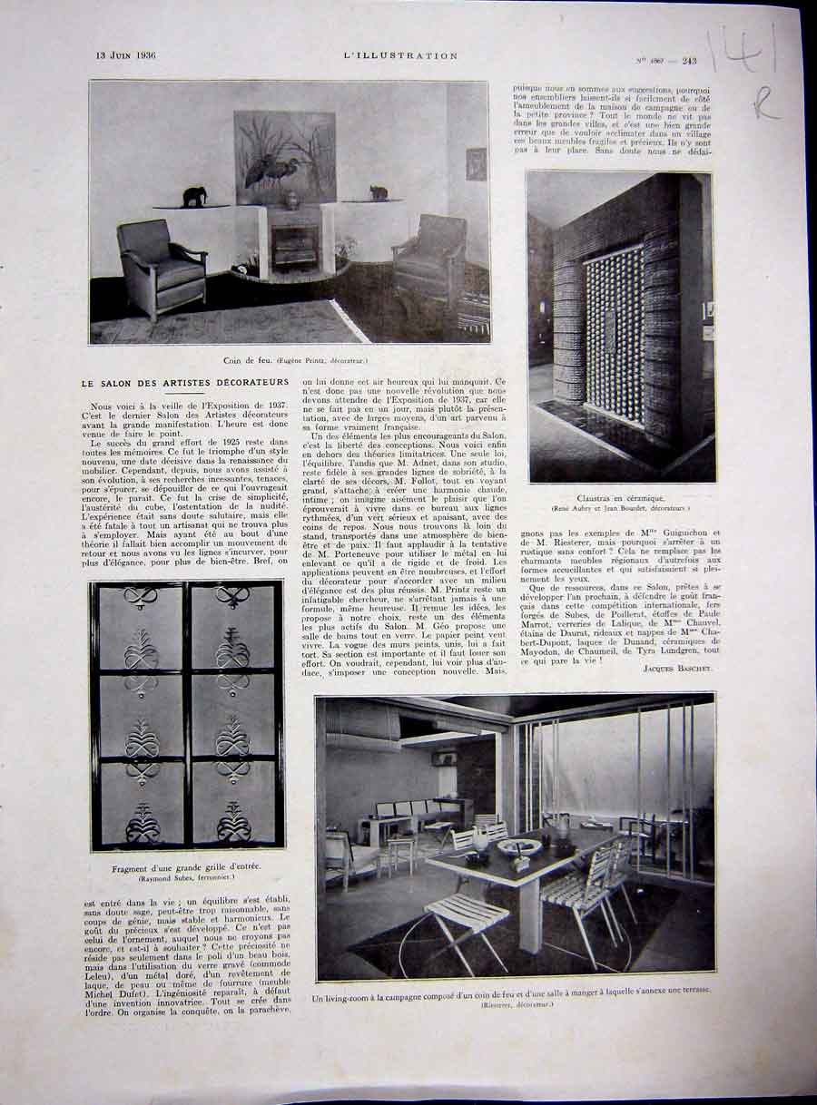 [Print Artist Decorator Decor Interior Design French 1936 141Re229 Old Original]
