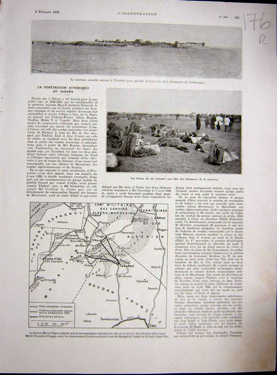 [Print Sahara Map Africa Caravan Soudan French 1936 176Re229 Old Original]