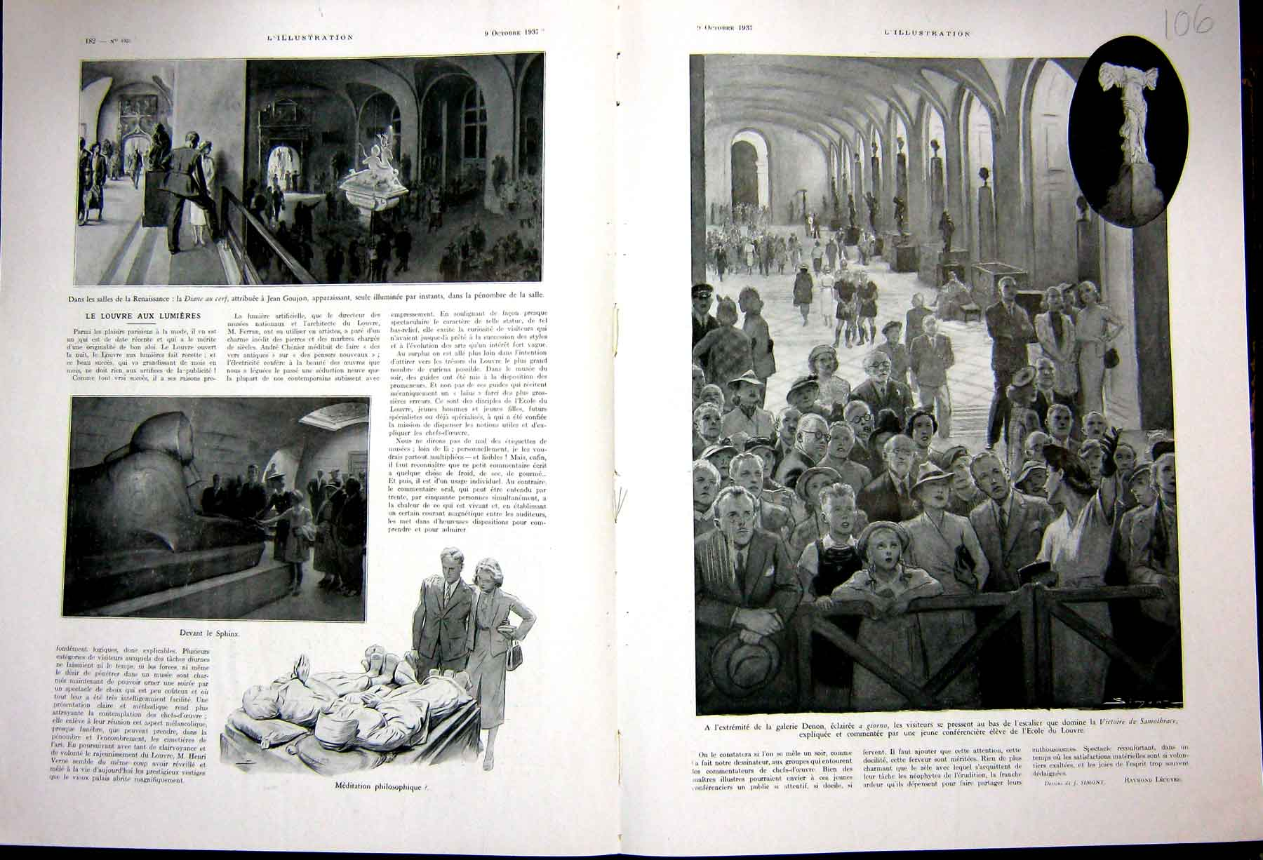 Print Louvres Museum Sphinx Samothrace French 1937 106E233 Old Original